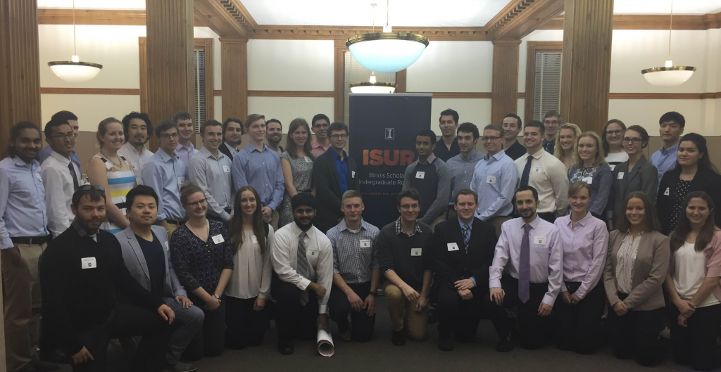 2015-2016 ISUR scholars and their mentors in the 2016 poster expo held on April 21 at 104 Illini Union