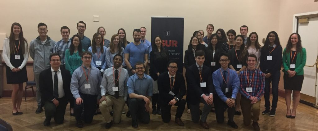2017-2018 ISUR scholars and their mentors after the poster expo last April 18, 2018 in Illini Union Rooms ABC