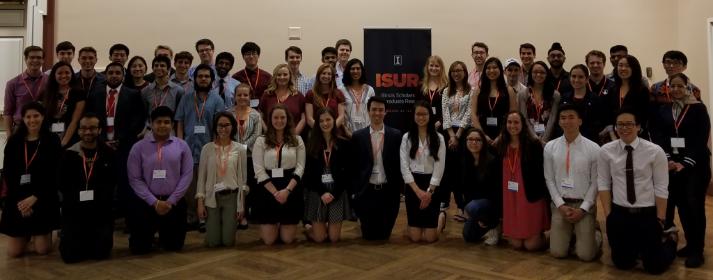 2018-2019 ISUR scholars and their mentors after the poster expo last April 17, 2019 in Illini Union Rooms ABC